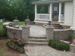 Raised Patio Pavers Elevated Paver Patio With Custom Wall Traditional Patio Dc