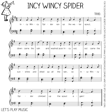 incy wincy spider first nursery rhymes free sheet music sheet