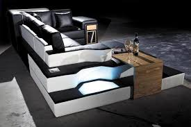 cool sectional sofas unique black leather sectional sofa with lights and shelves