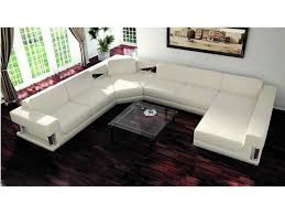 Low Sectional Sofa Furniture White Leather U Shaped Sectional Couch And Clear Low
