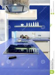 blue white kitchen modern interior design house royalty free stock
