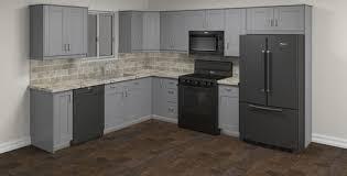 menards kitchen cabinet door hinges klëarvūe cabinetry strömma gray l shaped kitchen