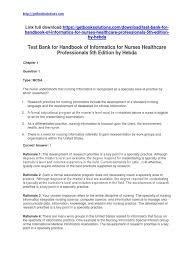 test bank for handbook of informatics for nurses healthcare