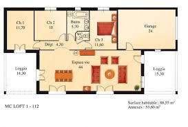 Plan Maison Loft Plan Du Modèle Mc1 L Maison De Plain Pied Loft La Maison Des