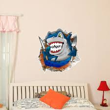 3d baby kids room cartoon shark sea wall decals removable
