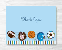 cute sports baby shower thank you card sports baby shower