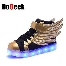 light up shoes gold high top dogeek kids led lights up shoes high top boys girls fashion wings