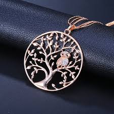 owl pendant necklace silver images Cute crystal animal owl pendant necklace for women multilayer jpg
