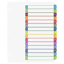 avery 15 tab table of contents color template avery ready index table of contents dividers 15 tabs multiple