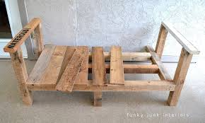 Build Wood Outdoor Furniture by How I Built The Pallet Wood Sofa Part 2 Funky Junk Interiors