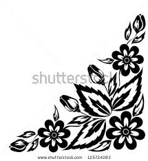set floral elements black and white lace di hulinska yevheniia