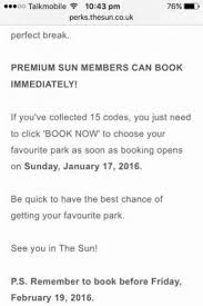 sun newspaper holidays codes jan 2016