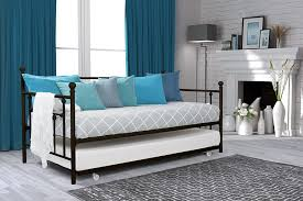 Day Bed Trundle Amazon Com Dhp Manila Metal Framed Daybed With Trundle Twin