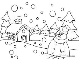 drawing winter scene winter snow scene coloring coloring