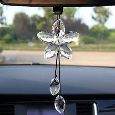 white glass five leaf flower car hanging ornaments