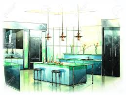 Kitchen Green Kitchen Colors Stock Modern Kitchen Art From Water Color Painting Stock Photo Picture