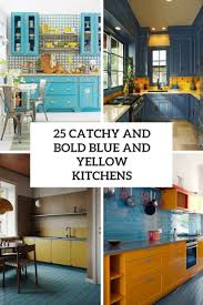 electric blue kitchen cabinets 25 catchy and bold blue and yellow kitchens digsdigs