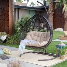 espresso resin wicker hanging egg loveseat chair outdoor patio furniture w stand islandbay
