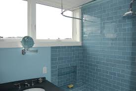 tiled bathroom ideas bathroom ideas blue subway tile bathroom with two small windows