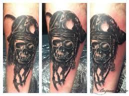 Forearm Skull - black grey skull forearm eugene pirie tattoos