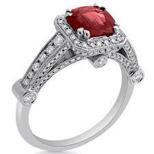 Vintage Style Cushion Cut Engagement Rings Style Cushion Cut Ruby U0026 Diamonds Three Sided Engagement Ring Ru3200