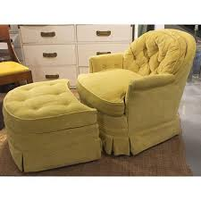velvet chair and ottoman mid century drexel heritage tufted swivel club chair and ottoman