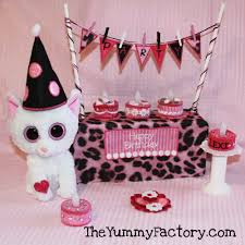 beanie boo party kitty embroidered light cakes