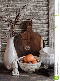 Vase With Twigs Easter Kitchen Still Life Eggs In A Bowl A Vase With Dry Twigs
