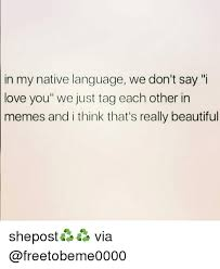 I Think I Love You Meme - in my native language we don t say i love you we just tag each other