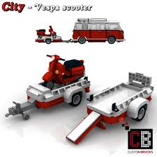 lego volkswagen t1 camper van custombricks de lego city vespa scooter with a trailer for vw t1