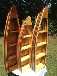 Canoe Shaped Bookshelf Handmade Boat Shelves Cedar And Wood Strip Boat Shelf 4ft Boat