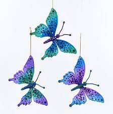 peacock colored butterfly with glitter ornaments 3 assorted