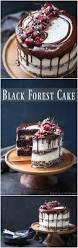 black forest cake chocolate cherries and whipped cream so