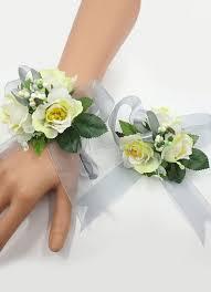 corsage bracelet wedding flower corsage bracelet set green silk flowers prom