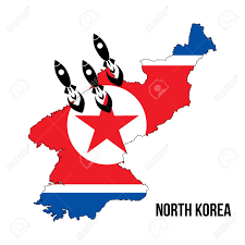 Nuclear Bomb Map Flag Map Launching Missile North Korea Nuclear Bomb Nuclear