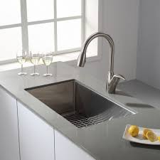brushed nickel faucet with stainless steel sink kitchen alluring white kitchen cabinet with grey quartz countertop
