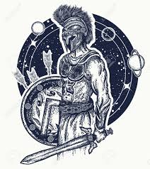 gladiator spartan warrior holding sword and shield