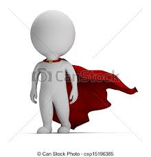 stock illustration 3d small brave superhero 3d small
