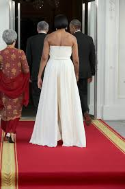 michelle obama goes strapless for state dinner