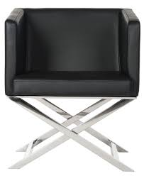 Black Leather Accent Chair Fox2033d Accent Chairs Furniture By Safavieh
