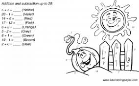 addition and subtraction worksheets up to 20