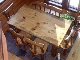 Log Dining Room Table Made Rustic Pine Log Diningroom Table And Chairs By Fbt