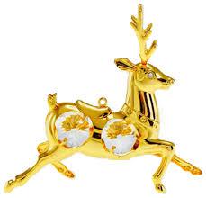 reindeer figurine 24k gold plated spectra crystals by swarovski