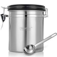 chephon tm stainless steel airtight coffee canister with date