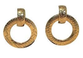 two way earrings chanel gold vintage hoop two way earrings tradesy