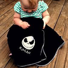 skellington fleece baby blanket from stitchezalamode on