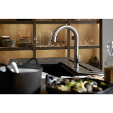 1 modern high kohler kitchen faucets kohler k13963 kitchen kohler sensate acpowered touchless kitchen faucet in polished chrome with docknetik and sweep the home depot