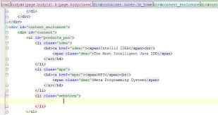 html div tag highlighting of html tag tree webstorm