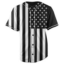 Black And White American Flag African American Flag Black U0026 White Button Up Baseball Jersey