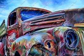 Old Ford Truck Doors - art painting ford truck